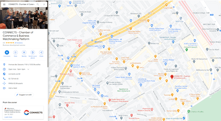 Screenshot of the online business matchmaking platform CONNECTS on Google maps